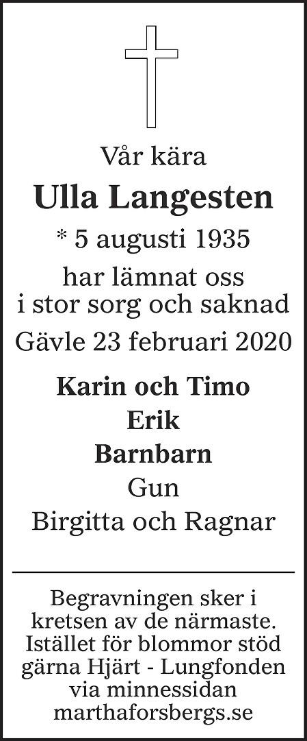 Ulla Langesten Death notice