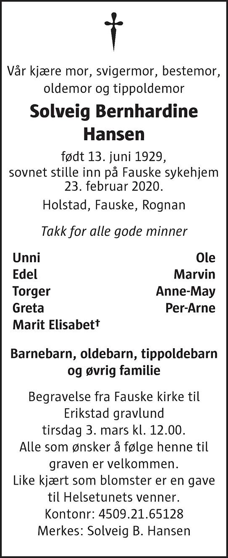 Solveig Bernhardine Hansen Dødsannonse