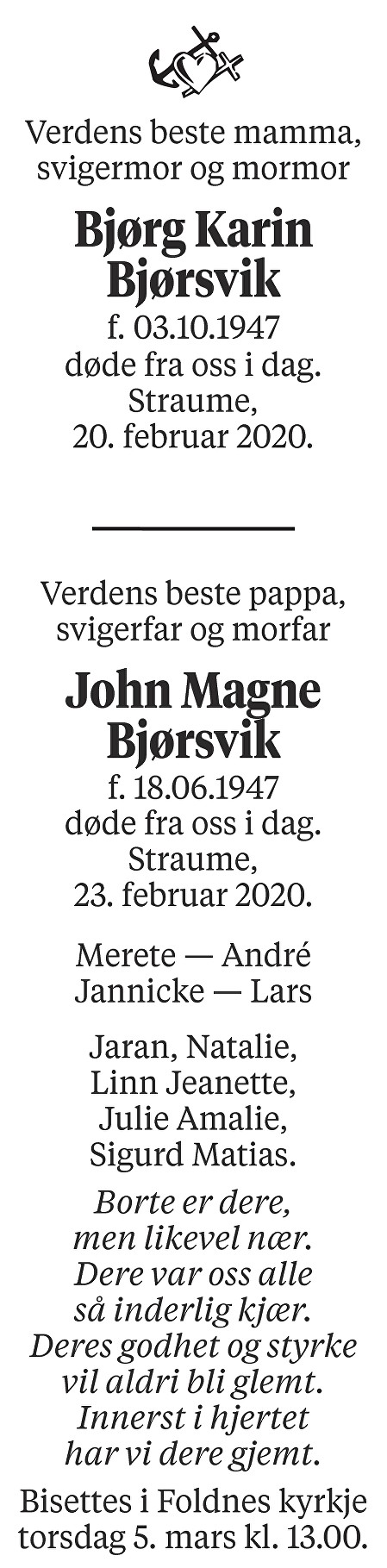 Bjørg Karin og John Magne Bjørsvik Dødsannonse