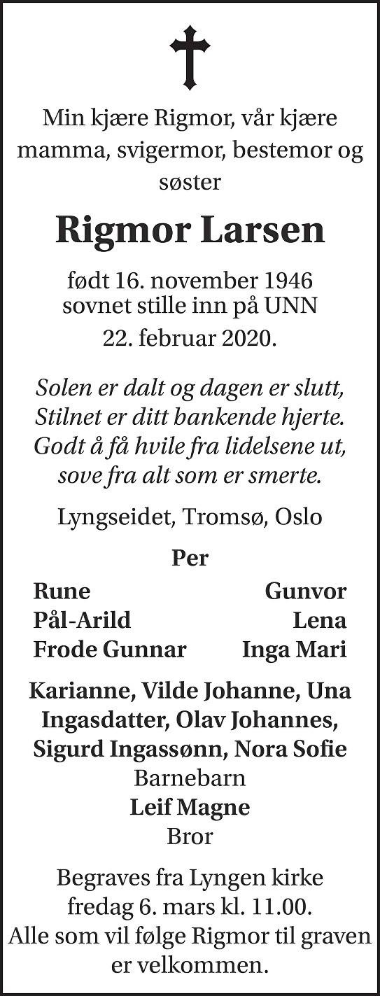 Rigmor Larsen Dødsannonse