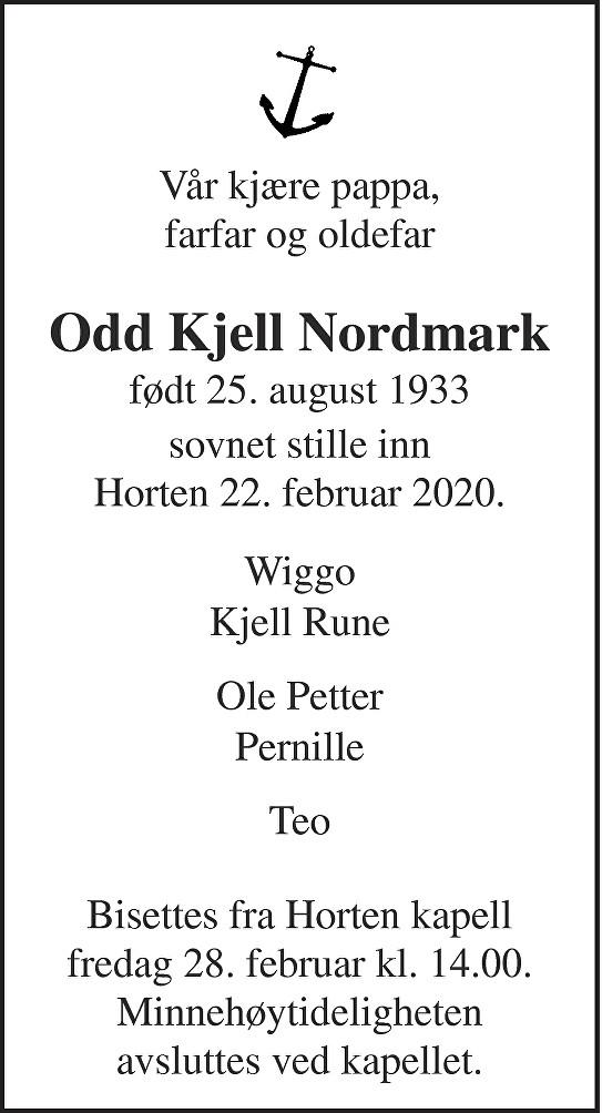 Odd Kjell Nordmark Dødsannonse