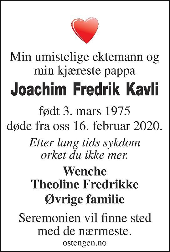Joachim Fredrik Kavli Dødsannonse