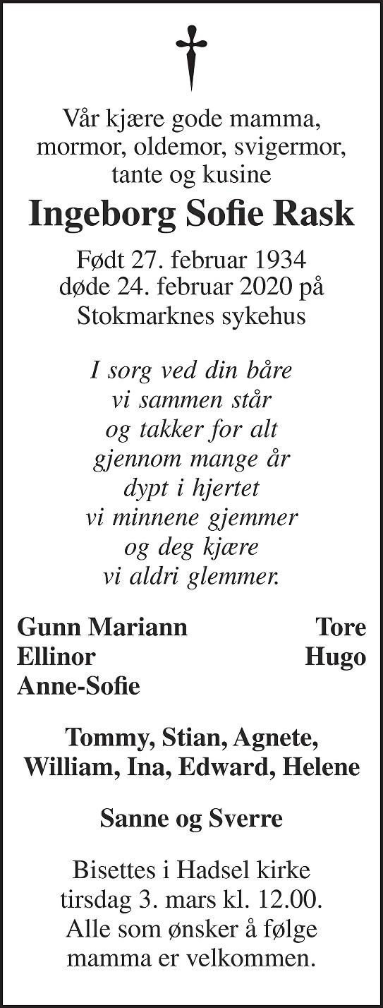 Ingeborg Sofie Rask Dødsannonse