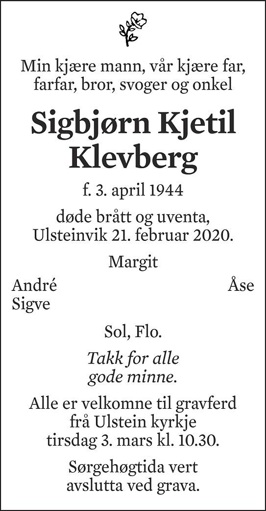 Sigbjørn Kjetil Klevberg Dødsannonse