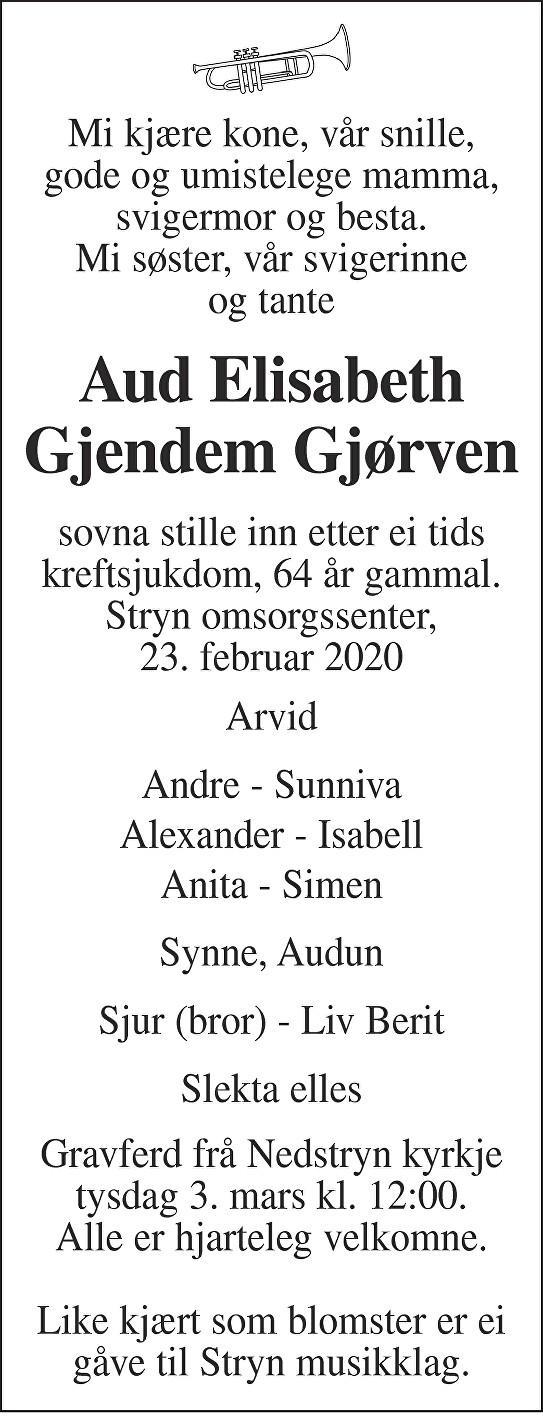 Aud Elisabeth Gjendem Gjørven Dødsannonse