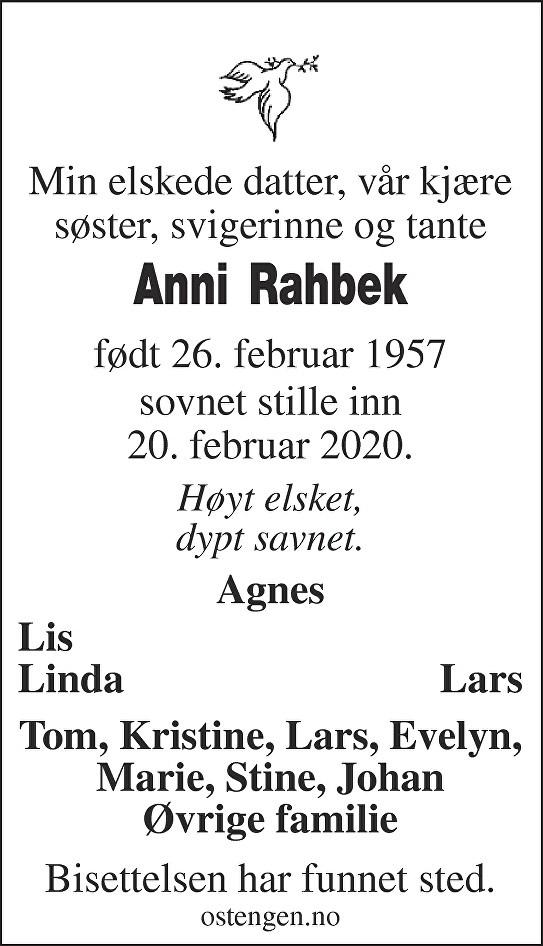 Anni Rahbek Dødsannonse