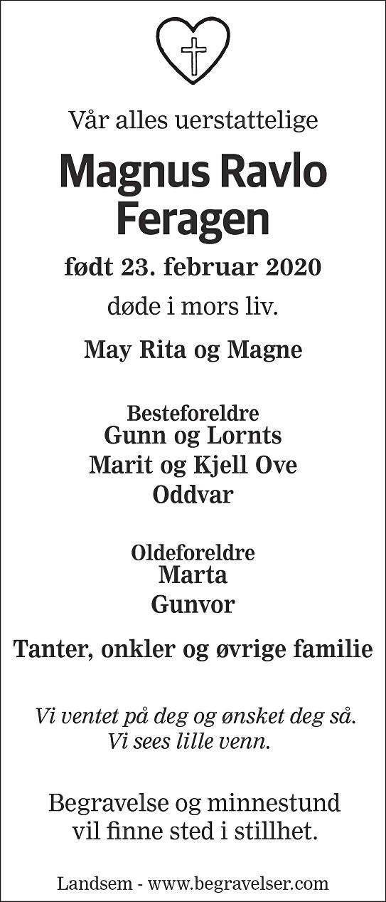 Magnus Ravlo Feragen Dødsannonse