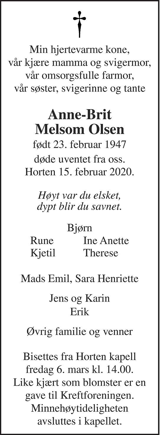 Anne-Brit Melsom Olsen Dødsannonse