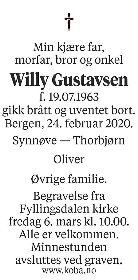 Willy Gustavsen Dødsannonse
