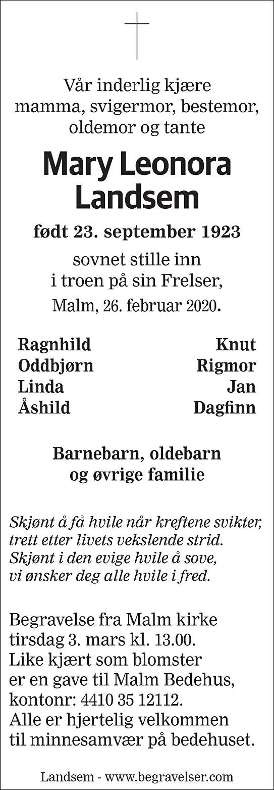 Mary Leonora Landsem Dødsannonse