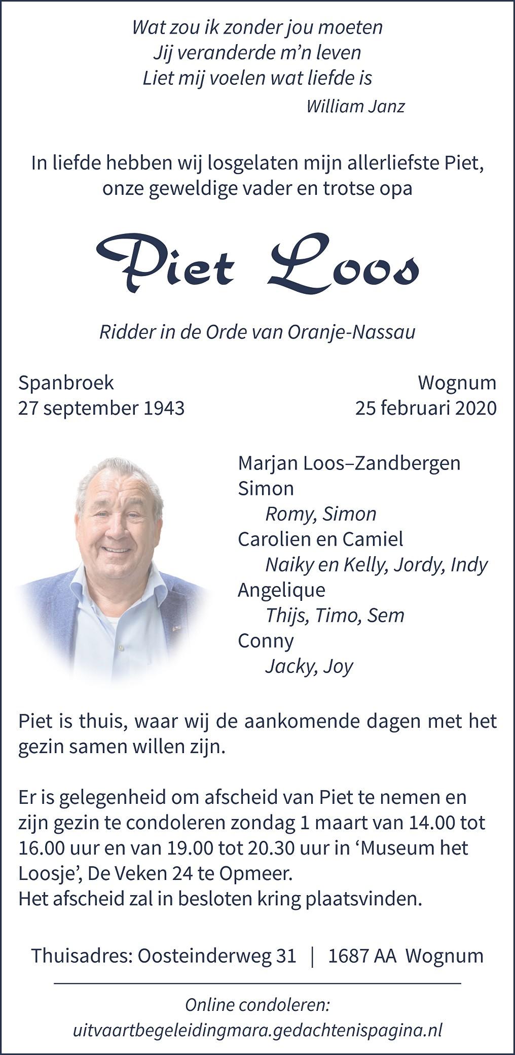 Piet  Loos Death notice