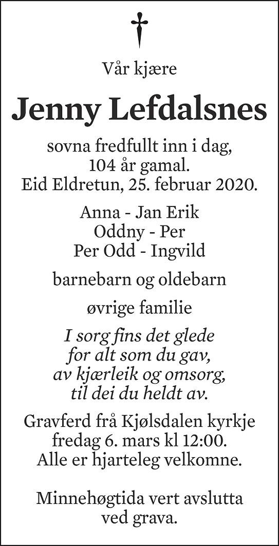 Jenny Lefdalsnes Dødsannonse