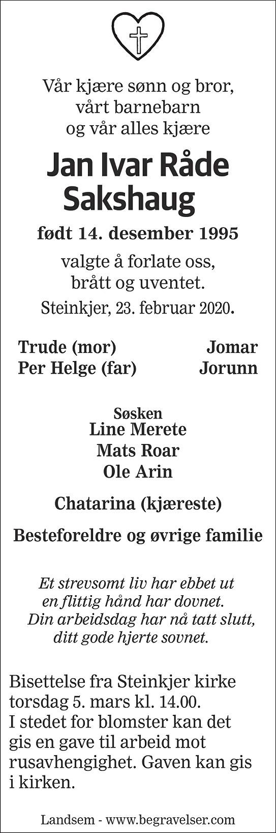 Jan Ivar Råde Sakshaug Dødsannonse