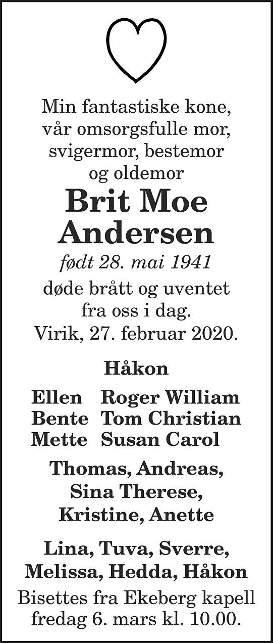 Brit Moe Andersen Dødsannonse