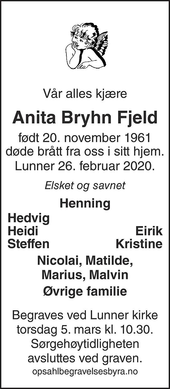 Anita Bryhn Fjeld Dødsannonse