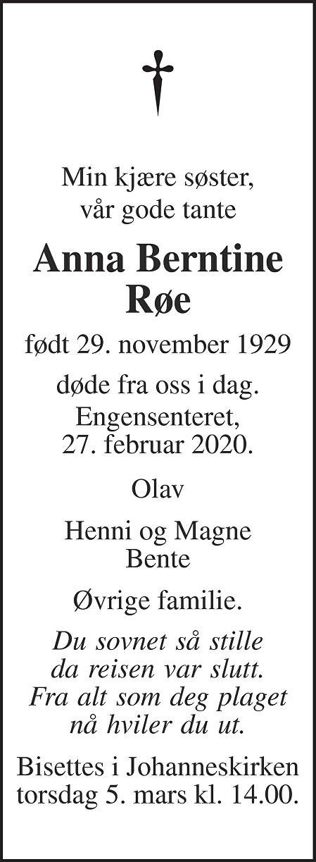 Anna Berntine Røe Dødsannonse