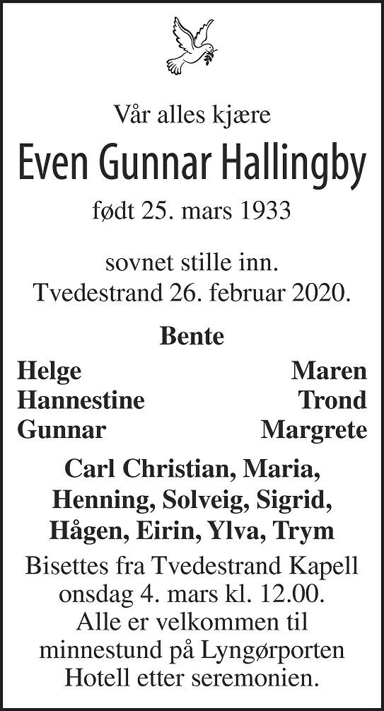 Even Gunnar Hallingby Dødsannonse