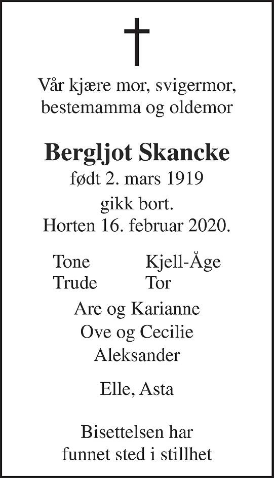 Bergljot Margaret Helen Skancke Dødsannonse