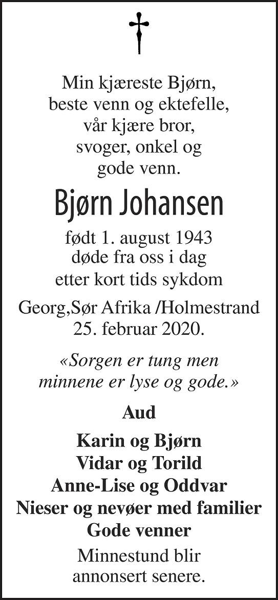 Bjørn Johansen Dødsannonse