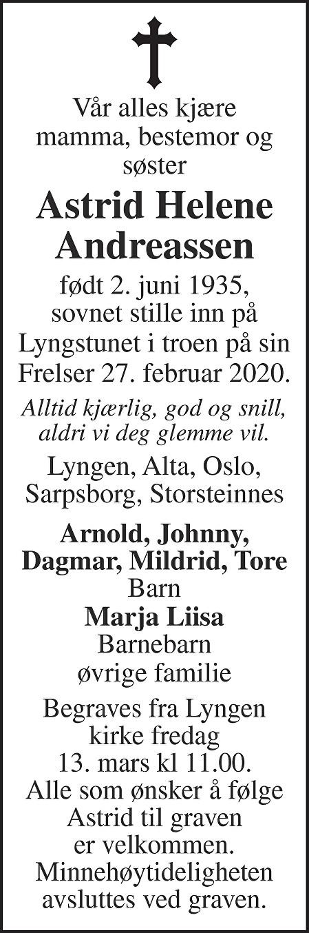 Astrid Helene Andreassen Dødsannonse