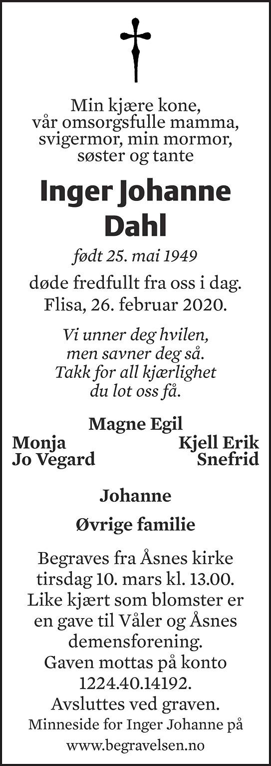 Inger Johanne Dahl Dødsannonse