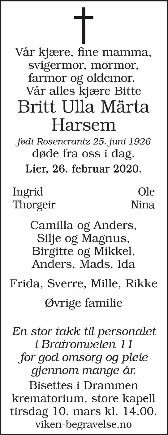 Britt Ulla Märta Harsem Dødsannonse