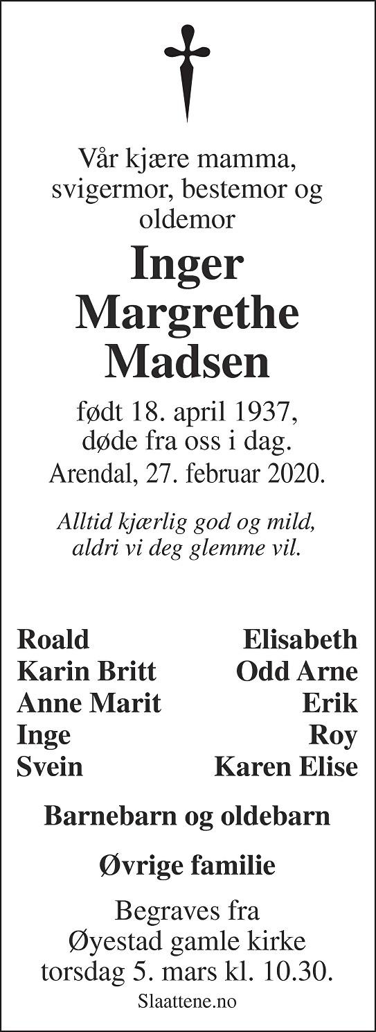 Inger Margrethe Madsen Dødsannonse