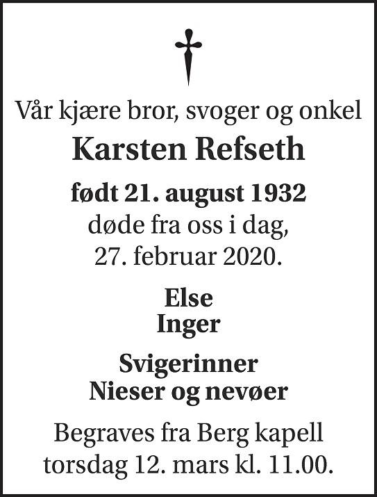 Rolf Karsten Refseth Dødsannonse