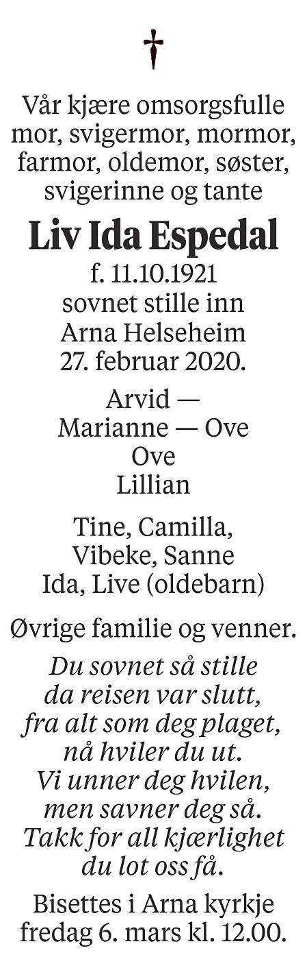 Liv Ida Espedal Dødsannonse