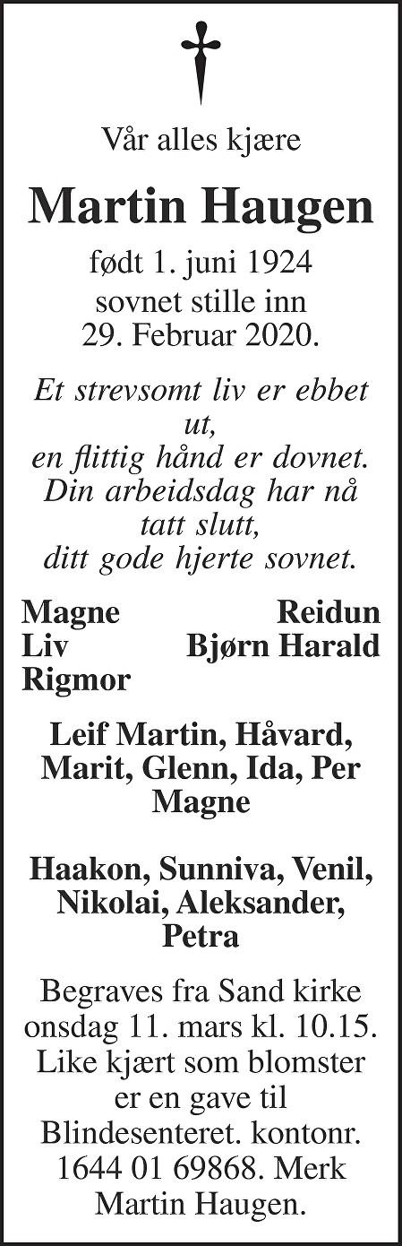Martin  Haugen Dødsannonse