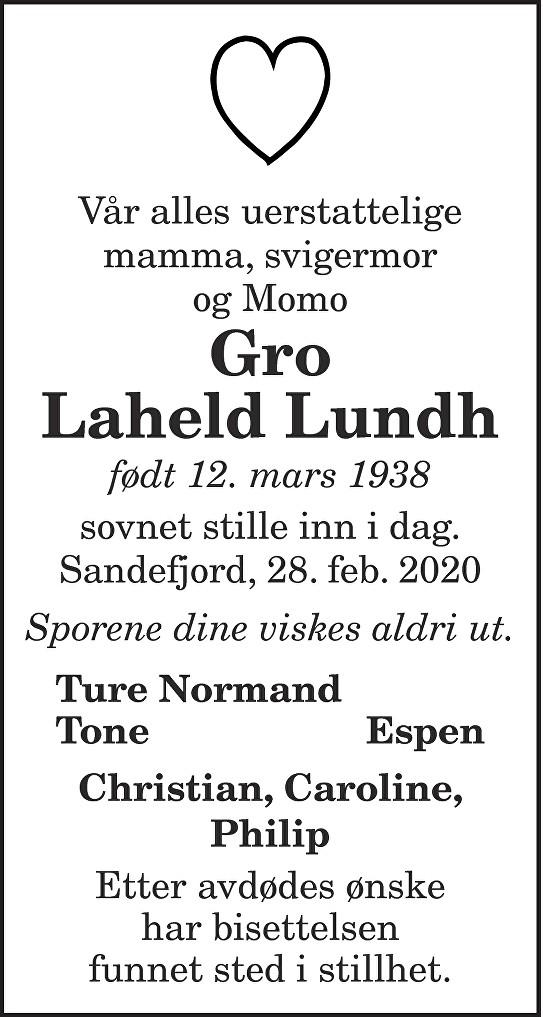 Gro Laheld Lund Dødsannonse