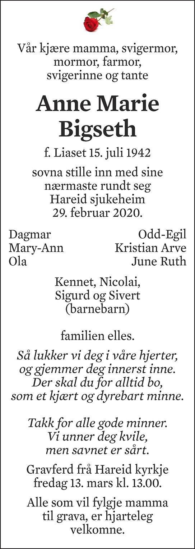 Anne Marie Bigseth Dødsannonse