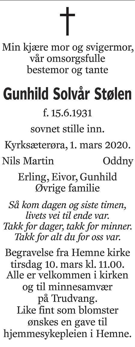 Gunhild Solvår Stølen Dødsannonse