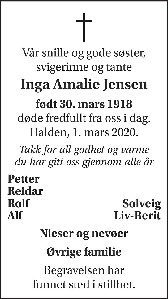Inga Amalie Jensen Dødsannonse