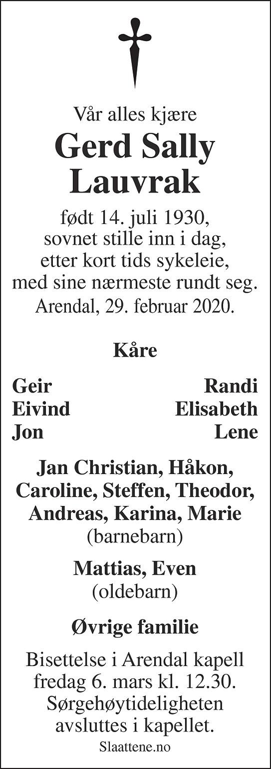 Gerd Sally Lauvrak Dødsannonse