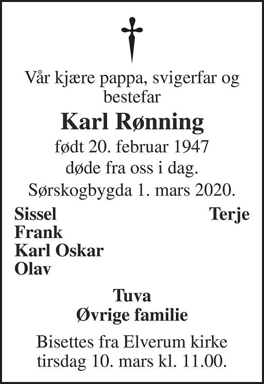 Karl Rønning Dødsannonse