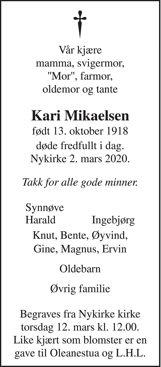Kari Pauline Mikaelsen Dødsannonse
