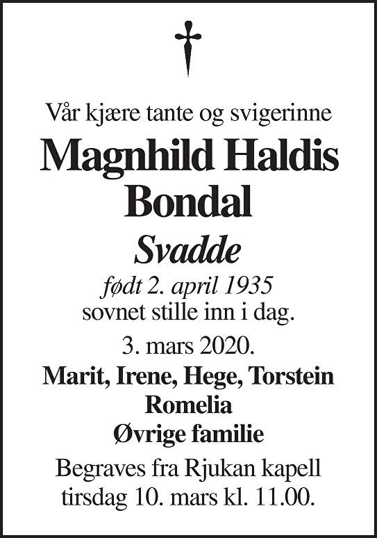 Magnhild Haldis Bondal Dødsannonse
