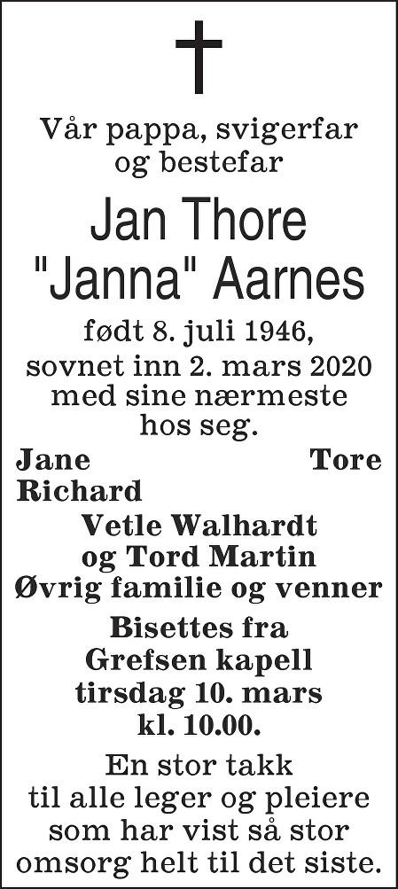 Jan Thore Aarnes Dødsannonse