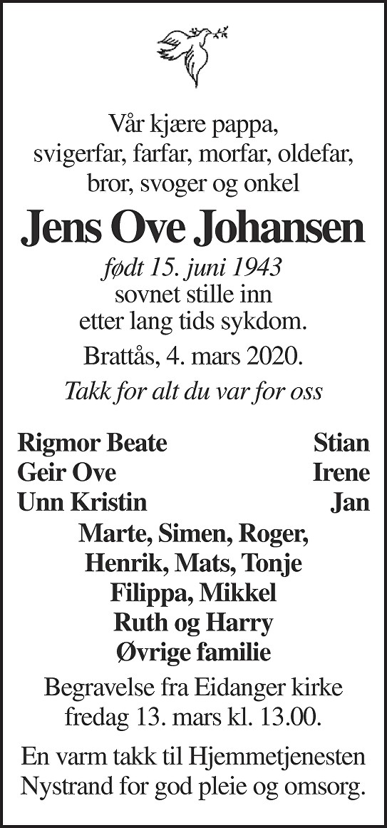 Jens Ove Johansen Dødsannonse