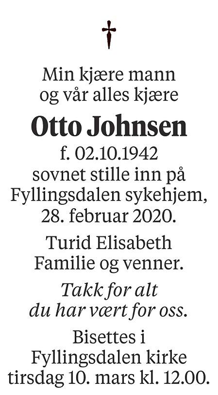 Otto Johnsen Dødsannonse