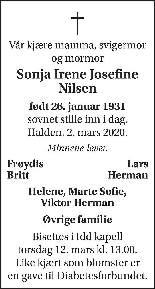 Sonja Irene Josefine Nilsen Dødsannonse