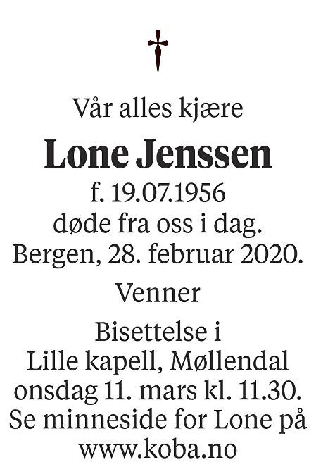 Lone Jenssen Dødsannonse