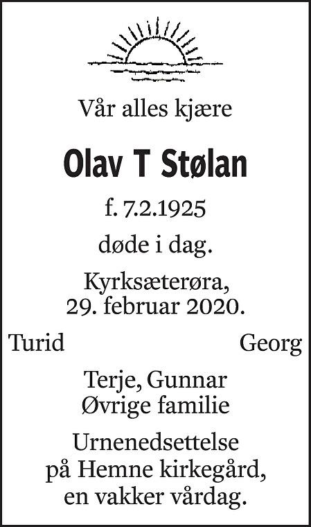 Olav T Stølan Dødsannonse