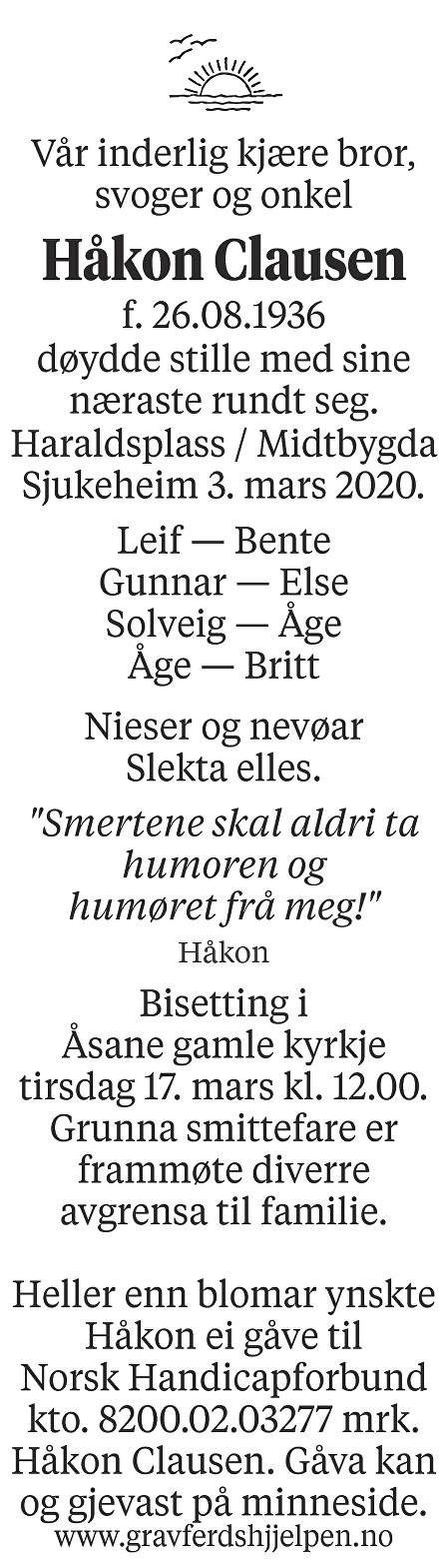 Håkon Clausen Dødsannonse