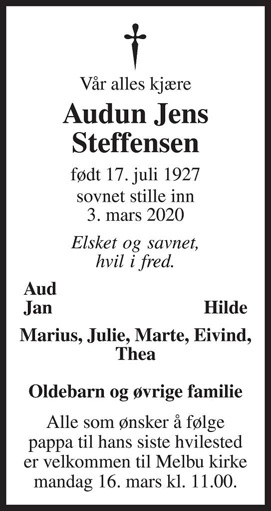 Audun Jens Steffensen Dødsannonse