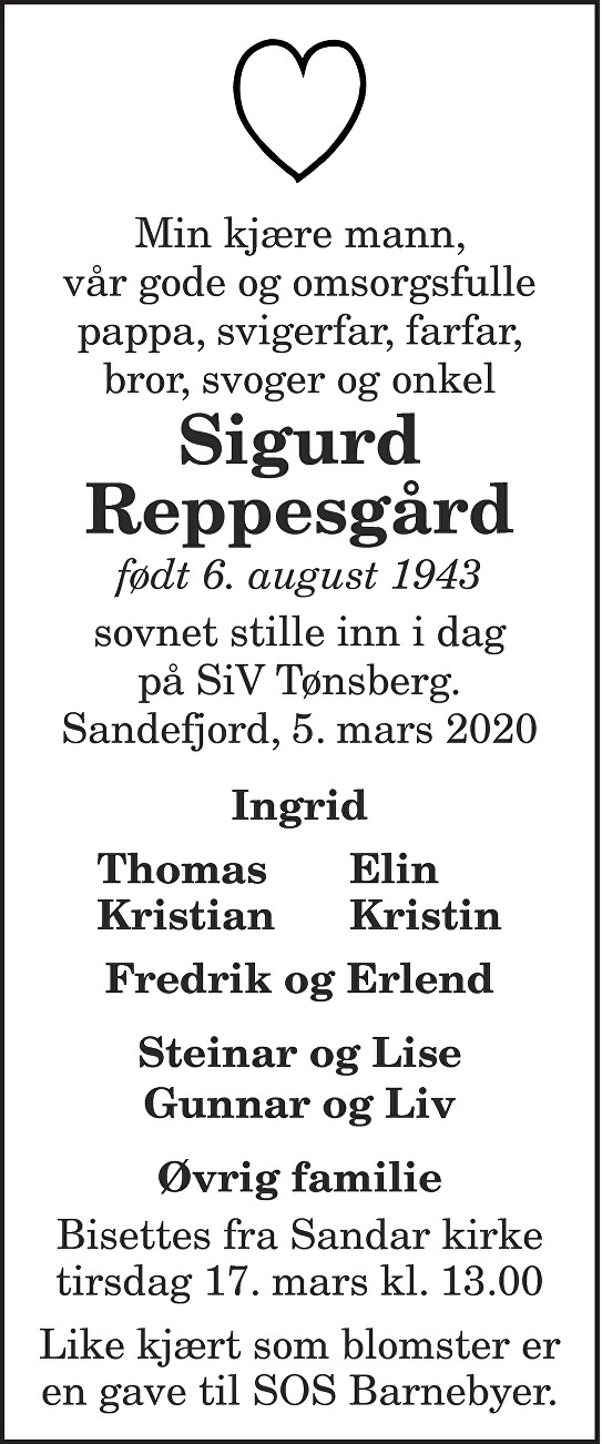 Sigurd  Reppesgård Dødsannonse