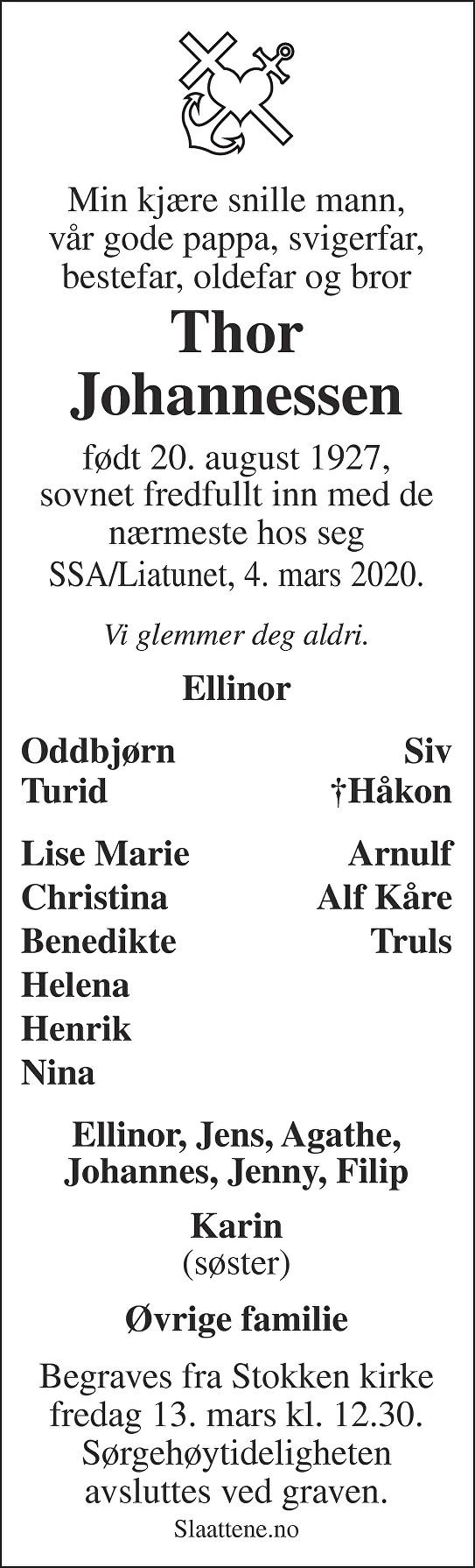 Thor Johannessen Dødsannonse
