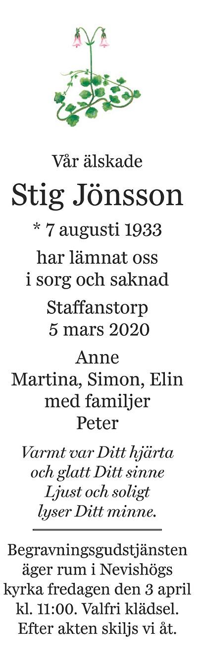 Stig Jönsson Death notice