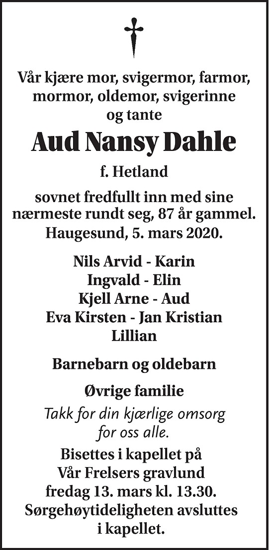 Aud Nansy Dahle Dødsannonse